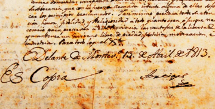 Firma de Artigas en las Instrucciones de 1813